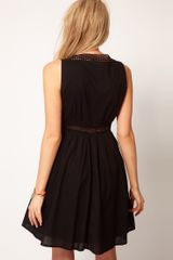 Asos Collection Asos Skater Dress with Crochet Insert in Black - Lyst