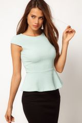 Asos Collection Asos Top with Peplum in Texture in Green (mint) - Lyst