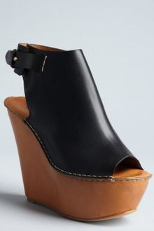 Chloé Black Leather Tucson Peep Toe Wedges - Lyst