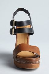 Chloé Brown and Black Leather Groove Wedges in Brown - Lyst