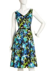 David Meister Floral print Vneck Dress - Lyst