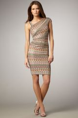 David Meister Asymmetric Printed Dress - Lyst