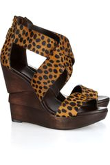 Diane Von Furstenberg Opal Printed Calf Hair Wooden Wedge Sandals - Lyst