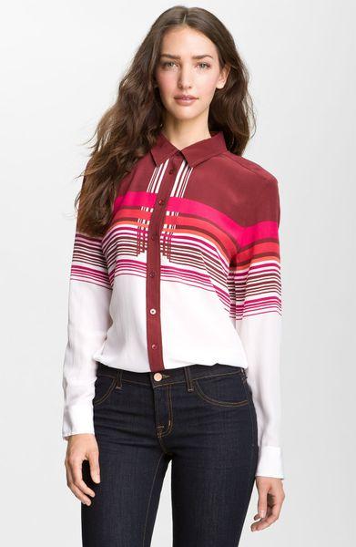 Equipment brett print silk shirt in multicolor berry multi