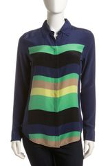 Equipment Earl Striped Silk Blouse Navy - Lyst