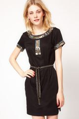French Connection French Connection Embellished Tie Waist Dress - Lyst