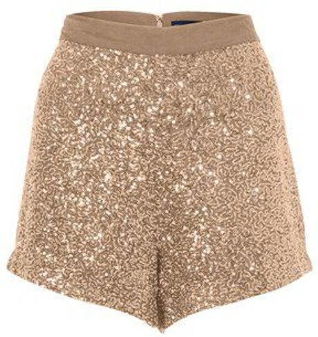 French Connection Fast Mini Sequins Shorts in Gold (pink) - Lyst