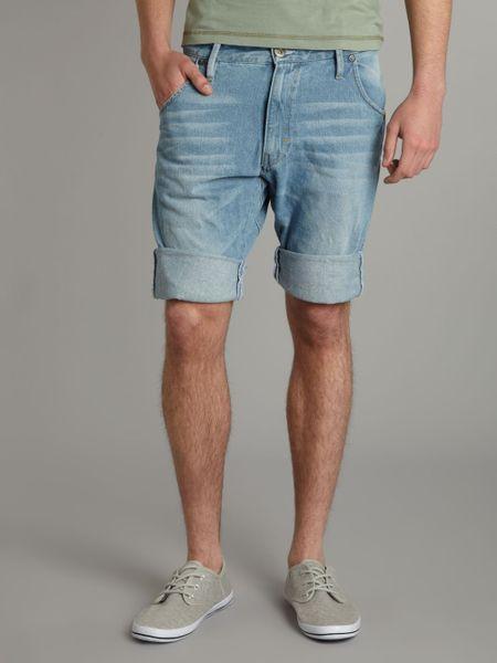 g star raw tapered loose fit shorts in blue for men denim. Black Bedroom Furniture Sets. Home Design Ideas