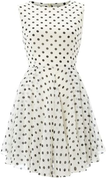 Glamorous Sleeveless Floaty Spot Dress - Lyst