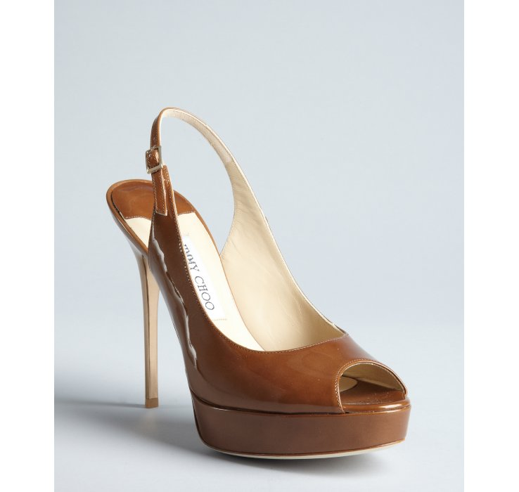 Lyst Jimmy Choo Tan Patent Leather Shaw Peep Toe