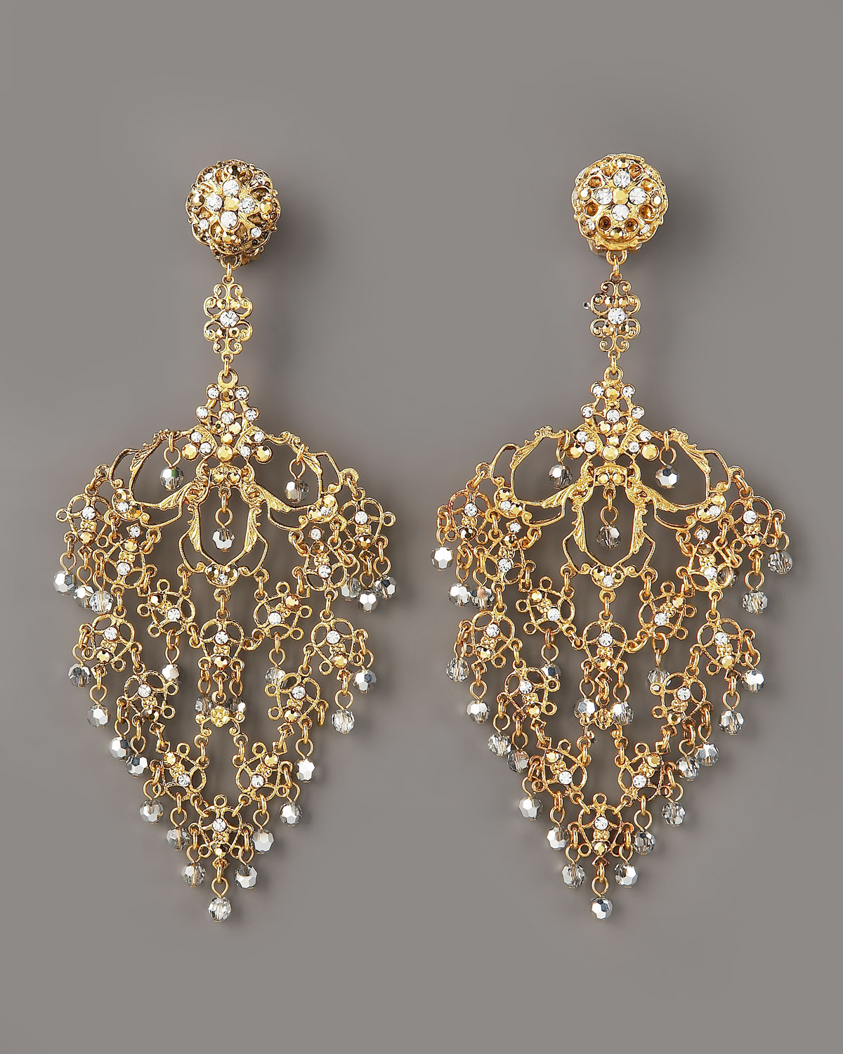 Lyst Jose Amp Maria Barrera Deco Filigree Earrings Gold In
