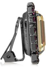 Kenneth Jay Lane Gunmetalplated Swarovski Crystal Clip Earrings in Yellow (gunmetal) - Lyst