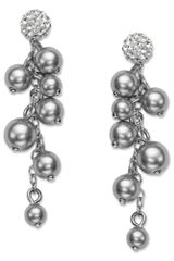Majestic Crystal Pearl Cluster Drop Earrings in Silver (pearl) - Lyst
