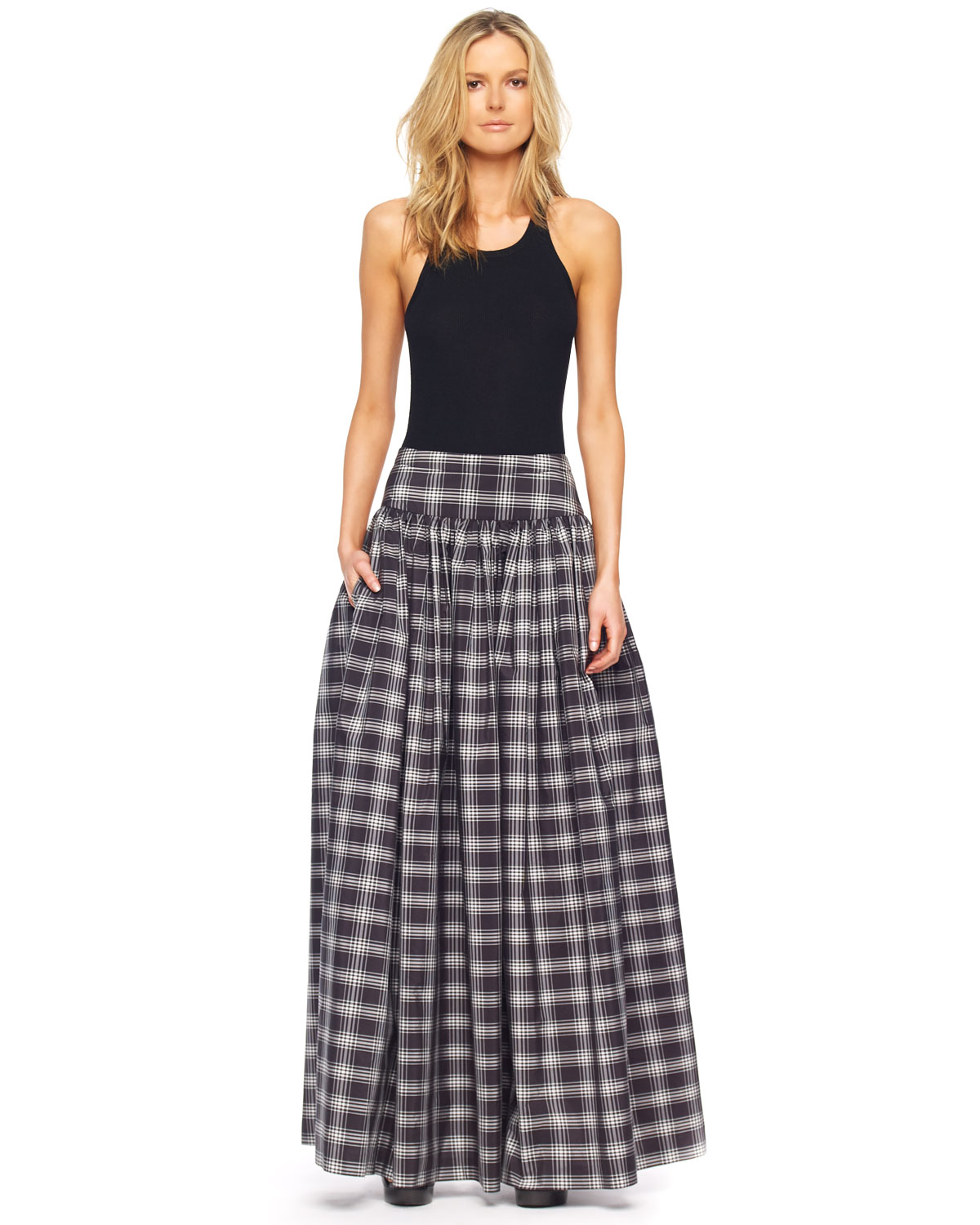 Michael kors Taos Plaid Taffeta Maxi Skirt in Black | Lyst