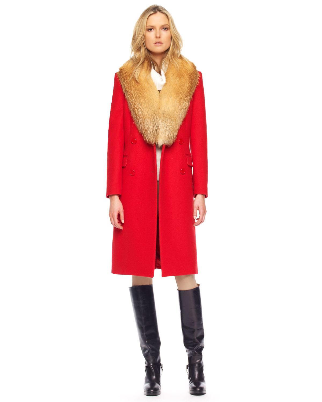 Michael kors Chesterfield Melton Wool Coat in Red   Lyst