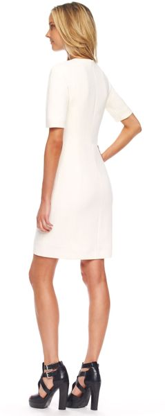 Michael Kors Stretch Boucle Shift Dress in White (ivory)