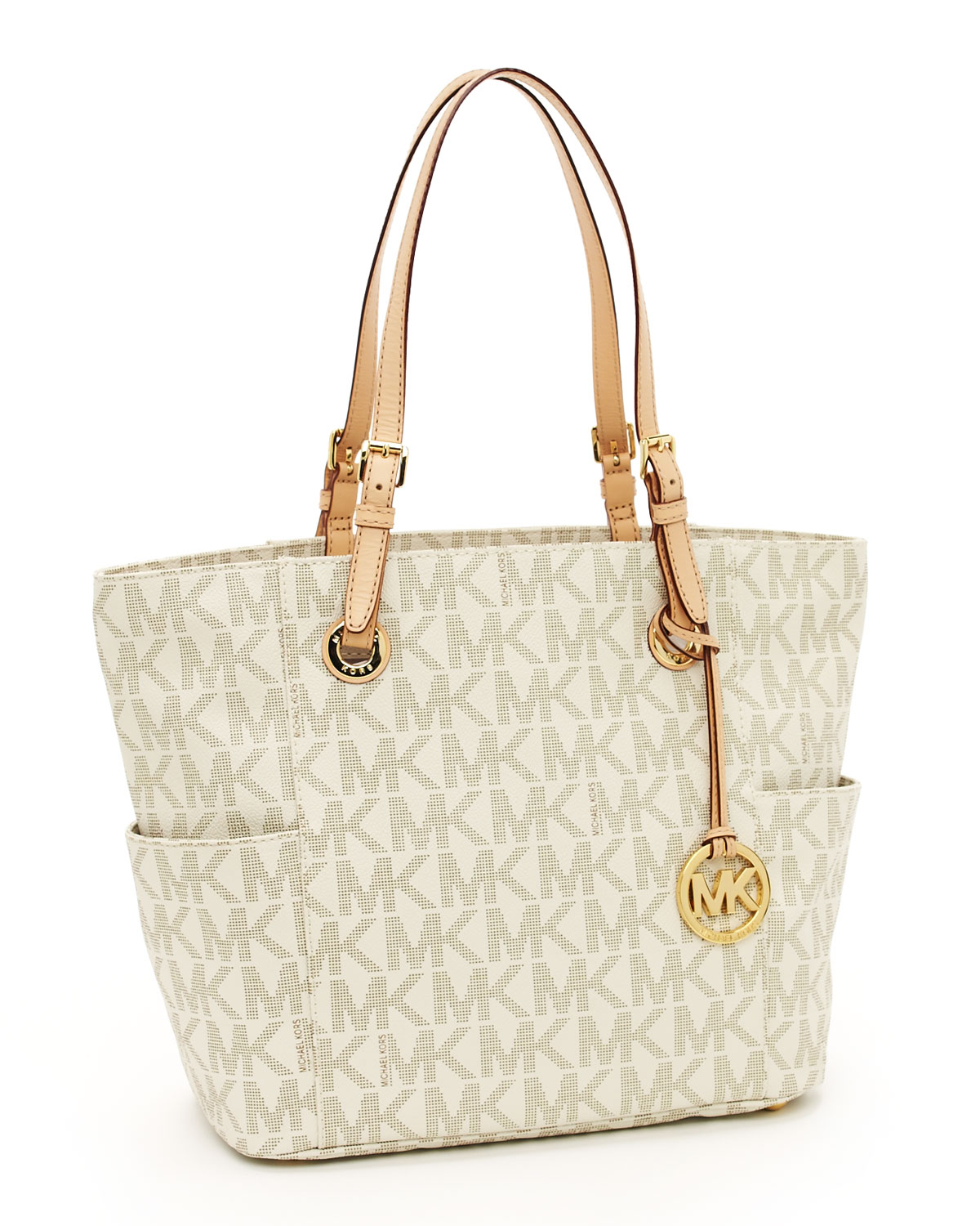 142b23ba86f0 ... east west signature tote vanilla 58b61 5c4eb  coupon code for lyst michael  kors jet set logo print signature tote vanilla in 06a15 bcb80
