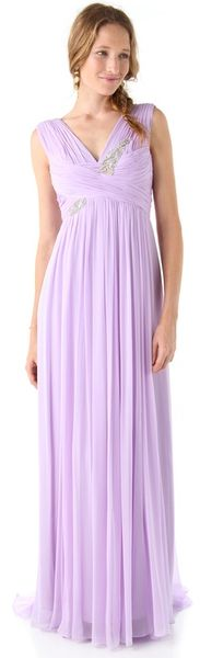 Notte By Marchesa Silk Gown with Embroidered Bodice - Lyst