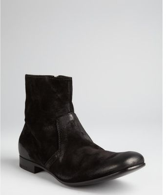 Prada Black Oiled Suede Short Boots - Lyst