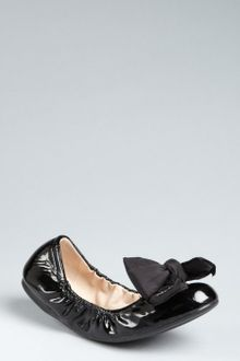Prada Prada Sport Black Patent Leather Bow Detail Ballet Flats - Lyst