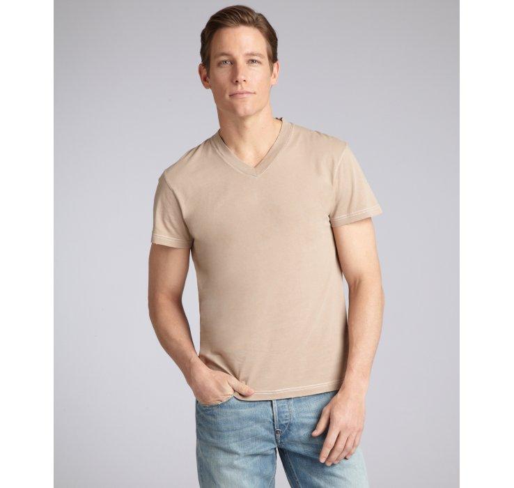 Lyst - Prada Prada Sport Tan Cotton Vneck Tshirt in Brown for Men