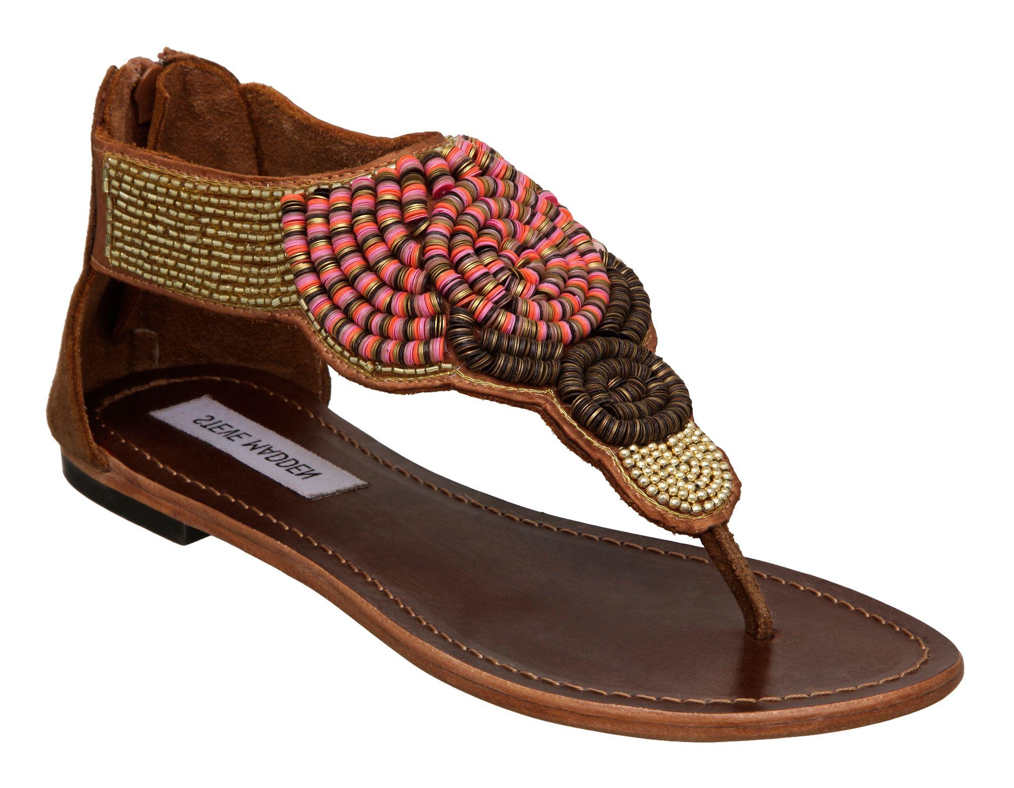 steve madden phorroh sm flat embellished sandals in brown tan lyst. Black Bedroom Furniture Sets. Home Design Ideas