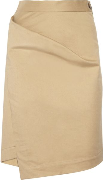 Vivienne Westwood Anglomania New Accident Folded Stretchcotton Skirt in Beige - Lyst