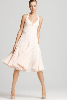 Zac Posen  Halter Dress  with Pleated Skirt - Lyst