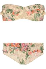 Zimmermann Devoted Floralprint Ruffled Bikini
