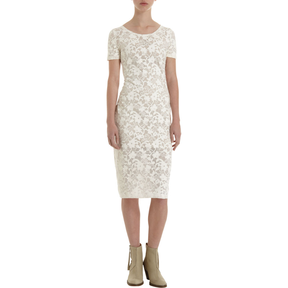 5b931050641 Acne Studios Extreme Lace Print Dress in White - Lyst
