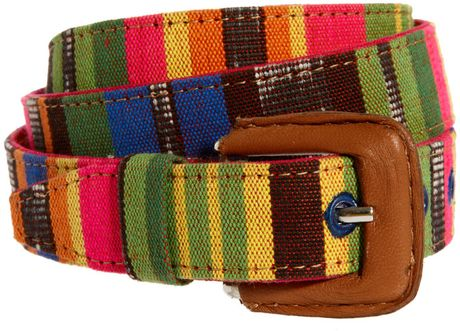 Asos Asos Aztec Print Belt in Multicolor (tan) - Lyst