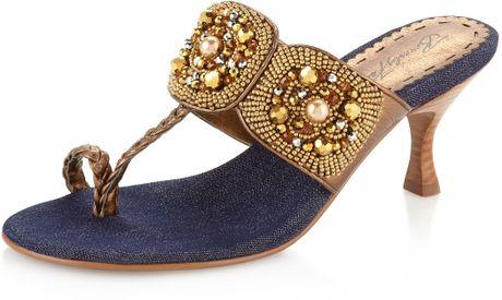 Beverly Feldman Moon Beaded Thong Sandal In Blue Bronze
