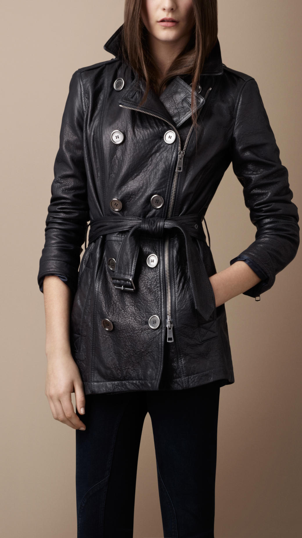 burberry brit short leather trench coat in blue lyst. Black Bedroom Furniture Sets. Home Design Ideas