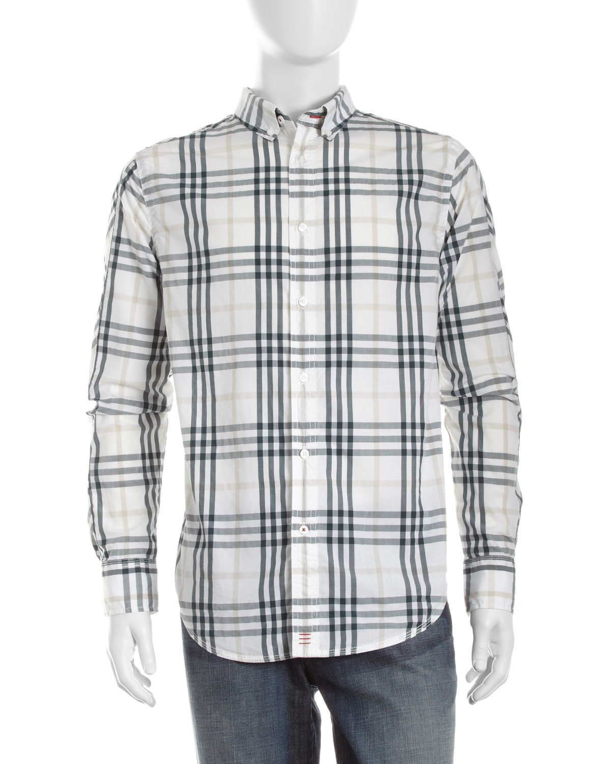 Canterbury of new zealand max plaid button down shirt in for Green plaid button down shirt