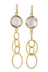 Devon Leigh Clear Hydro Quartz Earrings - Lyst