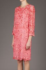 Emilio Pucci Beaded Lace Dress in Pink - Lyst