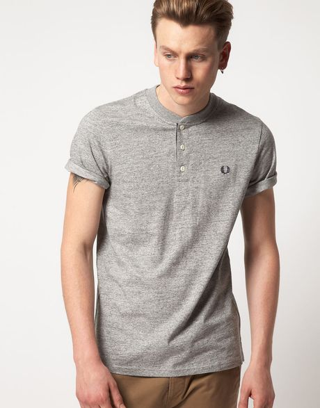 fred perry fred perry henley tshirt in gray for men grey lyst. Black Bedroom Furniture Sets. Home Design Ideas