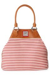 Gianfranco Ferré Striped Shoulder Tote Red in Brown (red wht) - Lyst