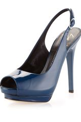 Giuseppe Zanotti Patent Leather Slingback Pump Blue - Lyst