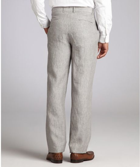 Hickey Freeman Pinstripe Linen Relaxed Leg Pants In Gray