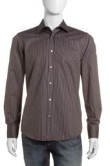 Hugo Boss Striped Sport Shirt Medium Brown - Lyst