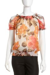 Lafayette 148 New York Smocked Silk Short Sleeve Blouse - Lyst