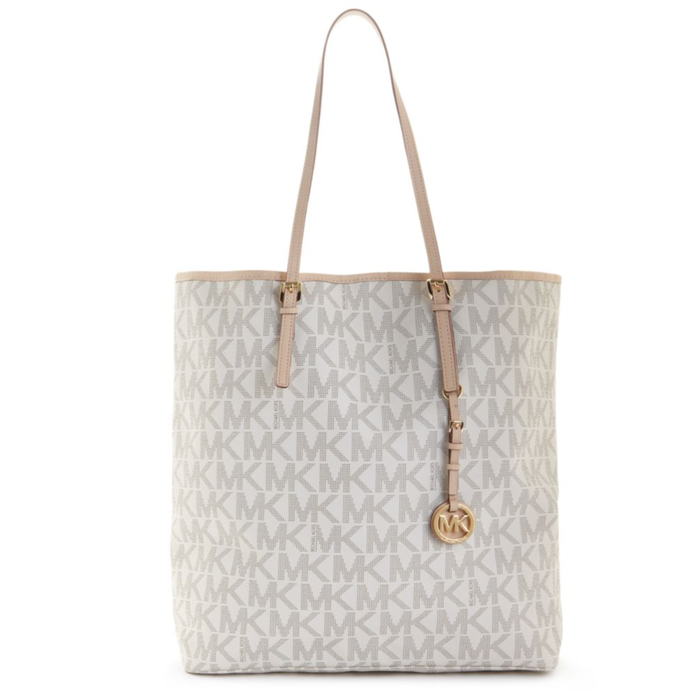 49bfeca3e36469 Michael Kors Jet Set Travel Signature Large Ns Tote in White - Lyst
