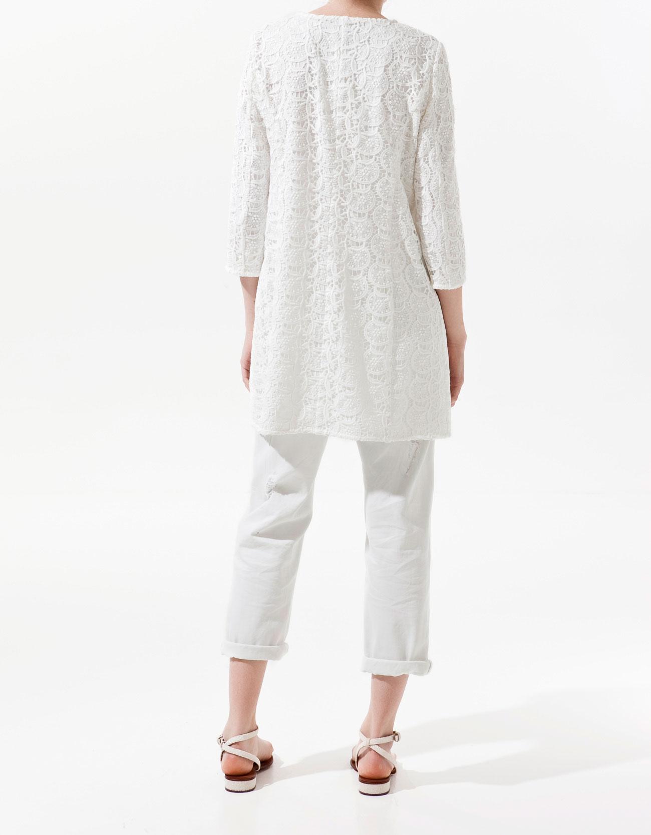 Zara Guipure Lace Coat In Natural Lyst