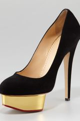 Charlotte Olympia Dolly Island Platform Pump Black in Gold (black) - Lyst