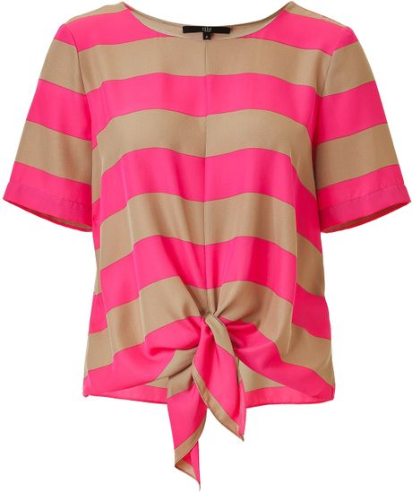 Tibi Magentasand Striped Knot Front Top in Gray (magenta) - Lyst