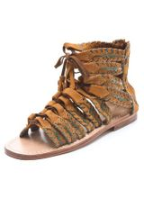 Antik Batik Dafne Spartiate Flat Suede Sandals - Lyst