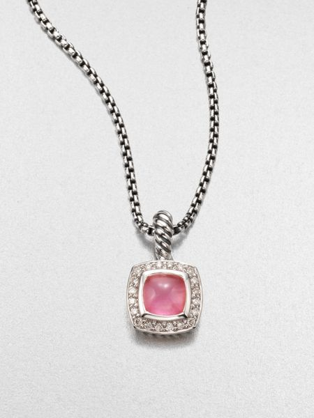 David Yurman Diamond Accented Pink Chalcedony Pendant Necklace in Pink - Lyst