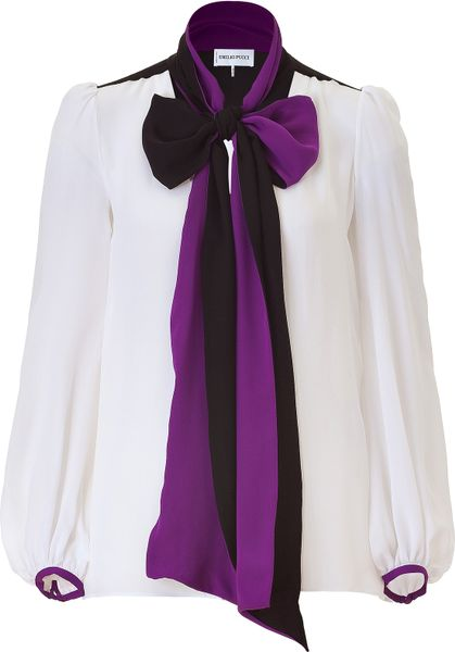 Emilio Pucci White Silk Top with Amethyst Collar in White - Lyst
