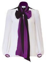 Emilio Pucci White Silk Top with Amethyst Collar